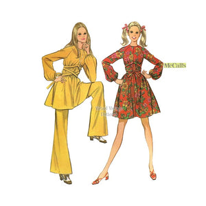 1960s Mini Dress or Tunic Top & Bell Bottom Pants Pattern, McCalls 2012