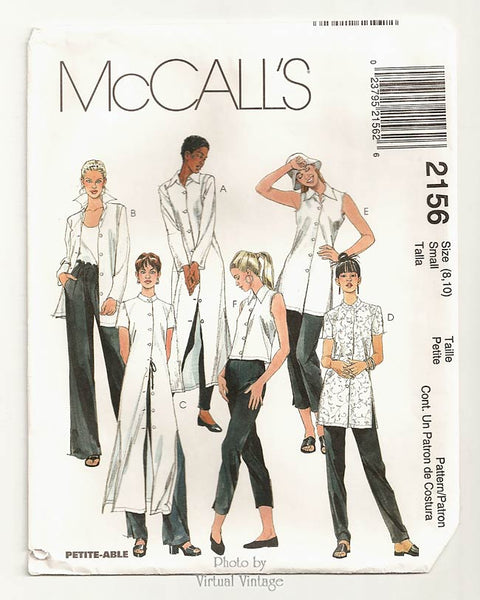 McCall's 2156, Women's Shirt Sewing Pattern