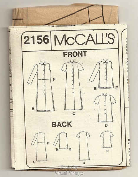 Women's Shirt Sewing Pattern McCall's 2156, Blouse, Tunic or Duster Shirt, Sleeve Variations, Uncut