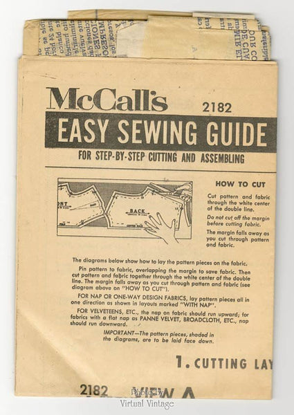 Vintage Apron Sewing Pattern 1950s McCalls 2182 One Yard One Size