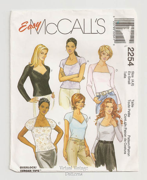 McCalls 2254, Womens Low Cut Top Pattern, Easy Sewing