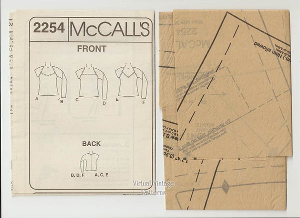 Womens Low Cut Top Pattern, McCalls 2254, Stretch Knits, Easy Sewing, X Sm, Uncut