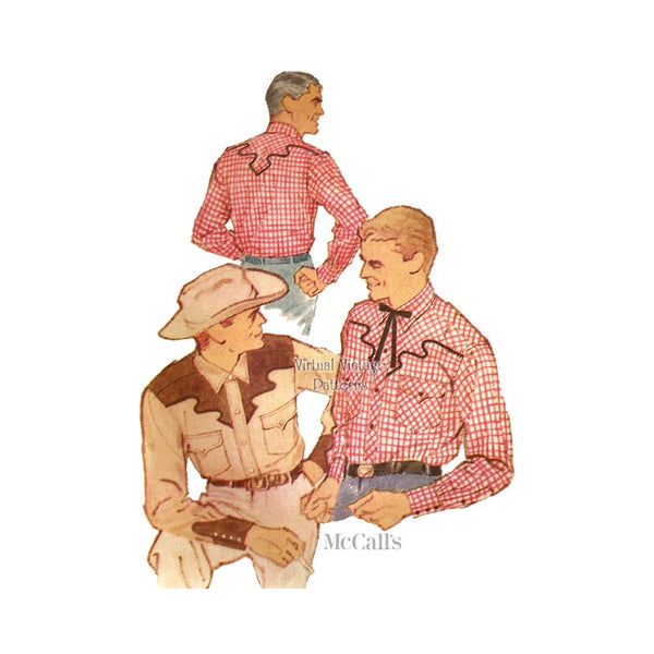 Vintage Mens Western Shirt Pattern, McCalls 2366