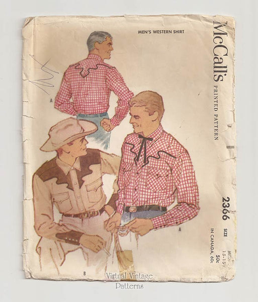 McCalls 2366, Vintage Mens Western Shirt Pattern