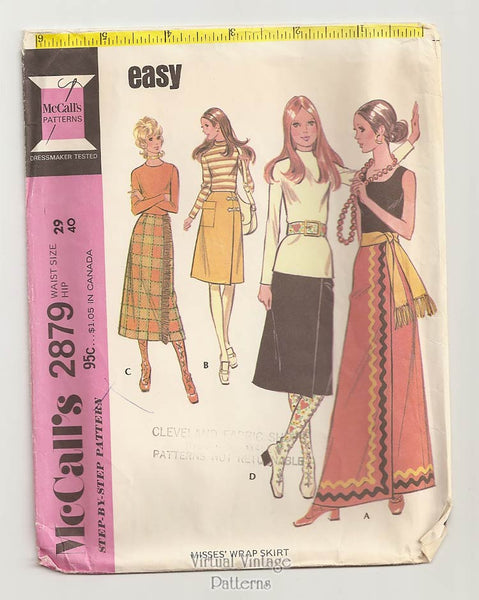 McCalls 2879, 1970s Wrap Skirt Pattern