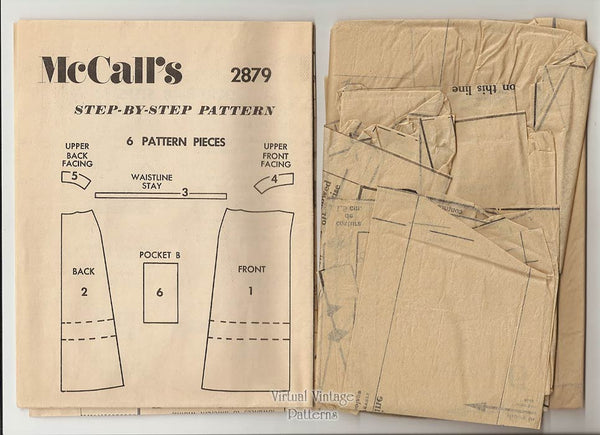 1970s Wrap Skirt Pattern, McCalls 2879, Easy to Sew Front Wrap Skirt in 3 Lengths, Waist 29, Hip 40