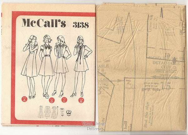 70s A Line Dress Pattern, McCalls 3138, Knee Length or Mini Dress, Easy Sewing, Bust 34, Uncut