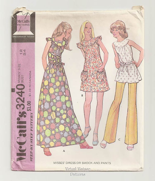 McCalls 3240, Boho Clothes Pattern, Dress or Smock & Pants