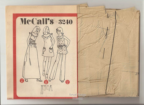 Boho Clothes Pattern, McCalls 3240, Dress or Smock & Pants, Bust 34, Uncut
