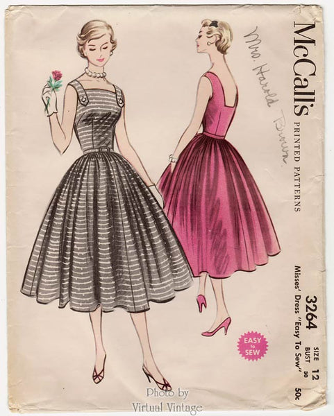 McCalls 3264, 1950s Square Neck Halter Dress Pattern