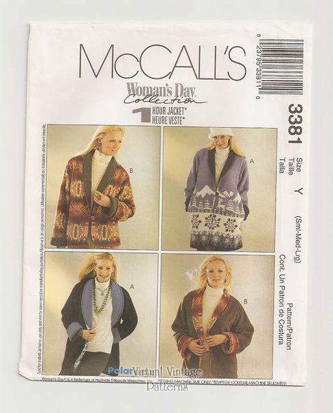 McCalls 3381, Womens Easy Fleece Jacket Pattern
