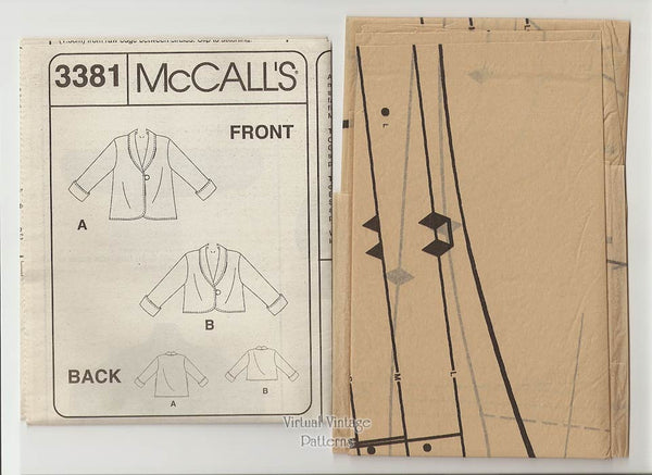 Womens Easy Fleece Jacket Pattern, McCalls 3381, Reversible Jacket, Small, Medium, Large, Uncut