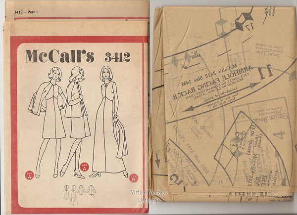 1970s Jacket & Dress Sewing Pattern, McCalls 3412, Sleeveless Evening Gown, Bust 36, Uncut