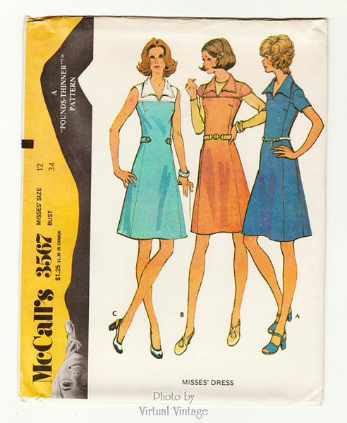 McCalls 3567, 1970s A Line Dress Pattern