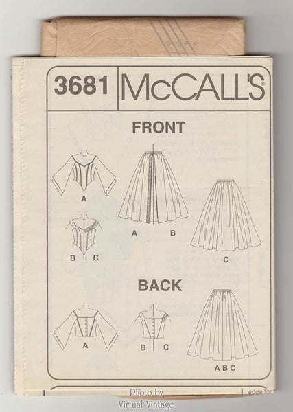 McCalls 3681 Evening Gown Pattern Two Piece Dress Lined Tops and Skirts Size 6, 8, 10, 12 Uncut
