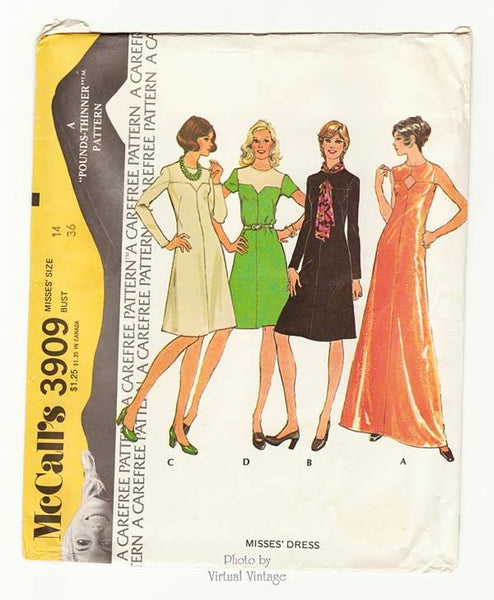 McCalls 3909, 70s Dress Pattern