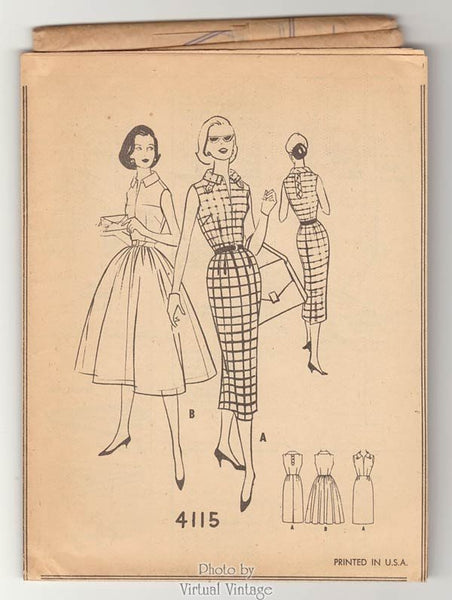 1950s Rockabilly Dress Pattern McCalls 4115, Full Skirt or Wiggle Dress, Bust 34 Uncut