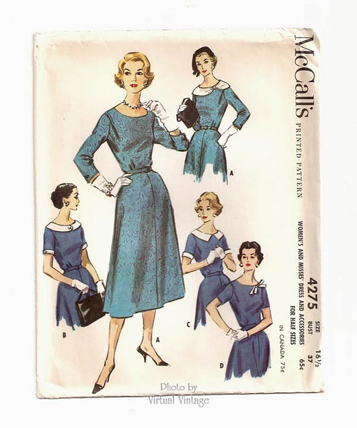 McCalls 4275, Vintage Shirtwaist Dress 1950s Sewing Pattern