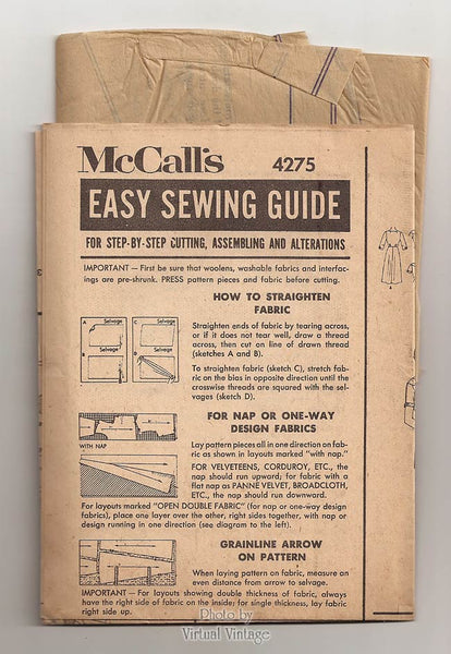 Vintage Shirtwaist Dress 1950s Sewing Pattern McCalls 4275, 50s Shirt Dress Patterns, Bust 37, Uncut