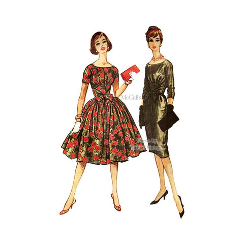 1950s Full Skirt Dress Pattern, McCalls 5142