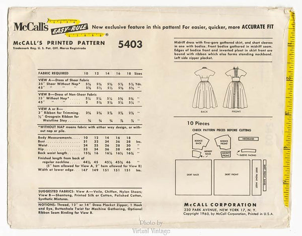 1960s Dress Pattern McCalls 5403 Midriff Dress with 5 Gore Skirt Bust 36
