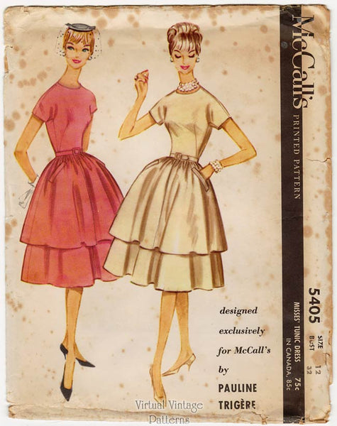 McCalls 5405, 60s Pauline Trigere Dress Sewing Pattern