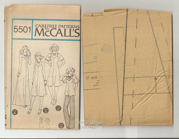 70s Top & Dress Pattern, McCalls 5501, Boho Style Blouse or Sundress or Maxi Dress, Bust 34, Uncut