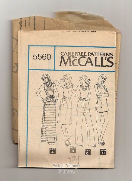 Hooded Cowl Neck Dress Pattern McCalls 5560 Knit Dress or Top, Pants or Shorts Vintage Pattern Uncut