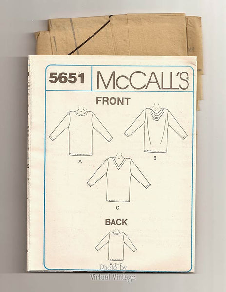 Plus Size Tunic Pattern, McCalls 5651, Long Sleeve Tunics, Easy Sewing Patterns, Bust 44 46, Uncut
