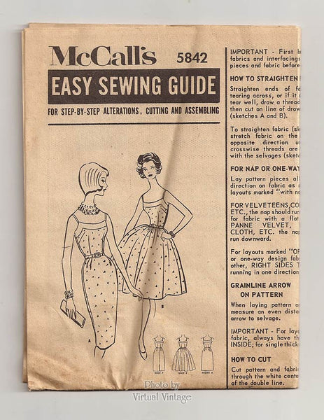 60s Sheath Dress Pattern McCalls 5842, Sleeveless Wiggle or Full Skirt Dress Vintage Sewing Patterns