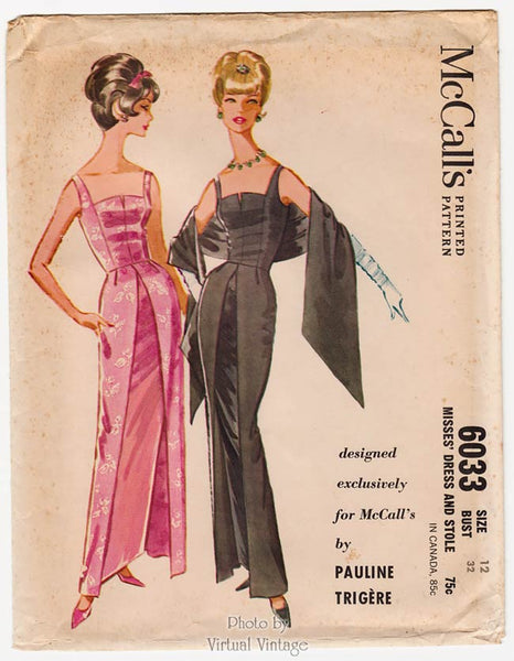 McCalls 6033, 1960s Pauline Trigere Dress Pattern