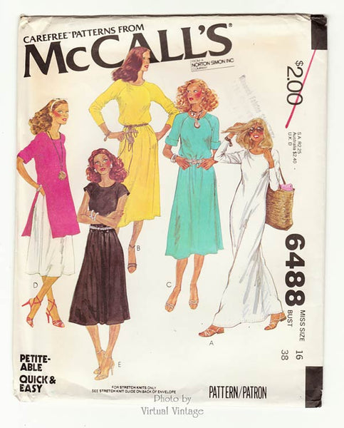 McCall's 6488, 70s T-Shirt Dress Pattern