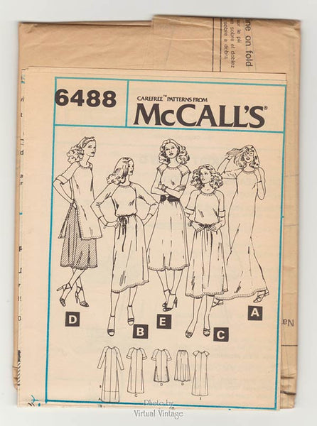 70s T-Shirt Dress Pattern or Tunic & Skirt Patterns, McCall's 6488, Bust 38, Uncut, Easy Sewing