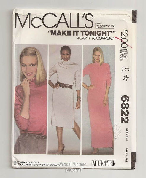 McCalls 6822, Easy Stretch Knit Dress Pattern