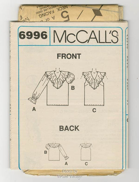 Ruffle Blouse Pattern McCalls 6996 Womens Tops Poet Shirt Size Xs S Med Bust 29 1/2 to 36