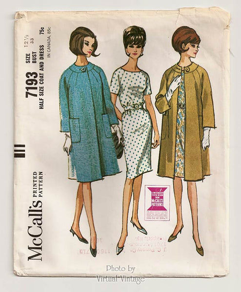 McCalls 7193, 60s Sheath Dress and Coat Pattern