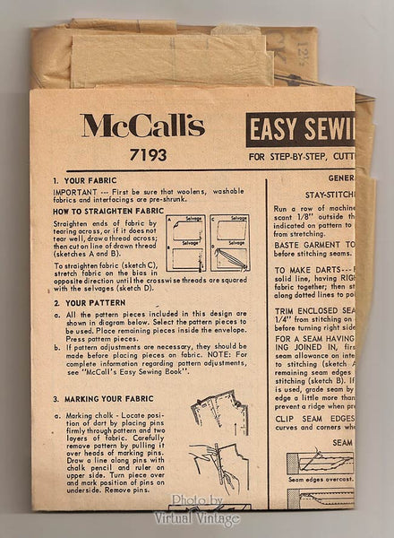 60s Dress and Coat Pattern, McCalls 7193, Sheath Dress & Straight Coat, Half Size Patterns, Uncut