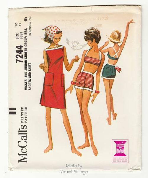 McCalls 7244, Crop Top Bikini with Shorts & Shift Dress Sewing Pattern