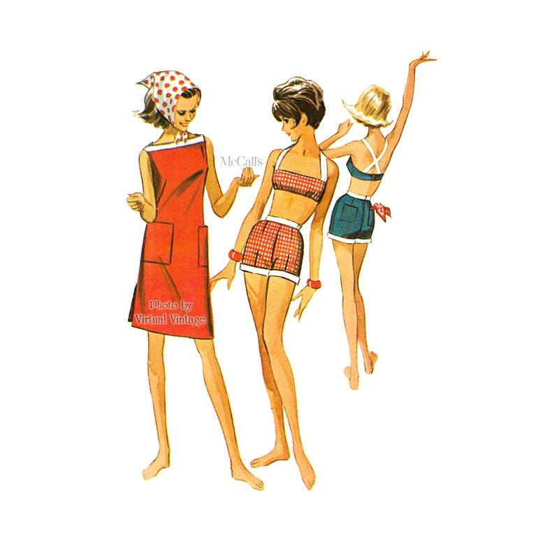 Crop Top Bikini with Shorts & Shift Dress Sewing Pattern, McCalls 7244