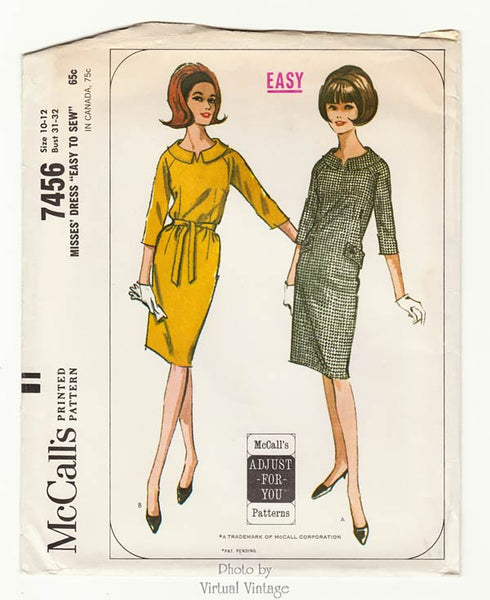 McCalls 7456, 1960s Sack Dress Pattern