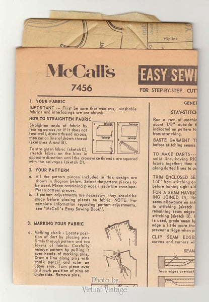 1960s Sack Dress Pattern, McCalls 7456 Easy Sewing Shift Dress with Raglan Sleeves, Vintage, Uncut