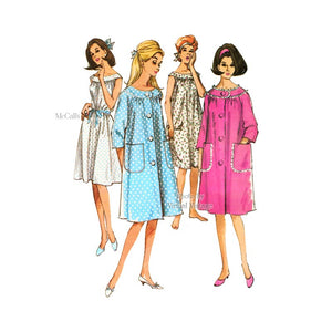 1960s Robe & Nightgown Pattern McCalls 7539