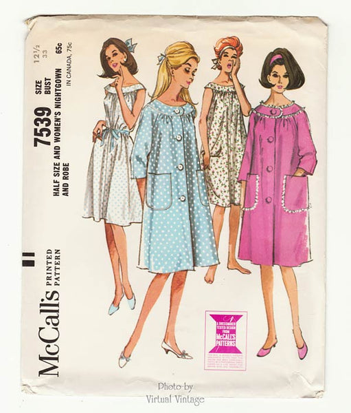 McCalls 7539 Nightgown & Robe Pattern