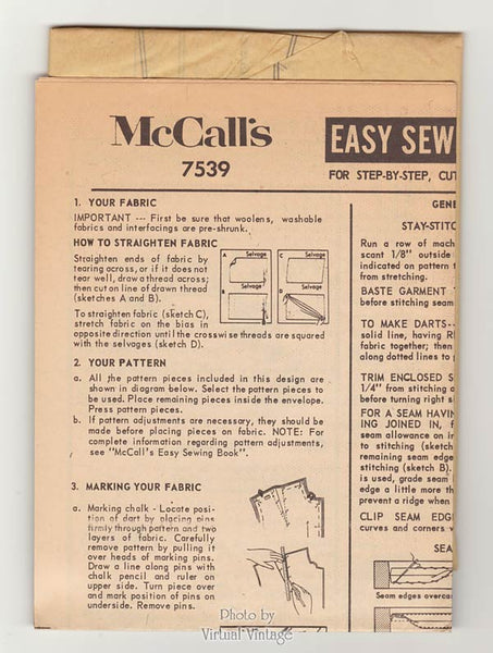 McCalls 7539 Nightgown Pattern, 1960s Nighty and Robe Vintage Sewing Patterns, Uncut