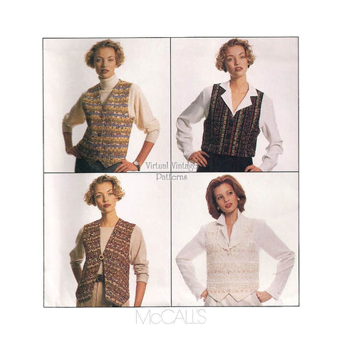 Womens Vest Pattern, McCalls 7907