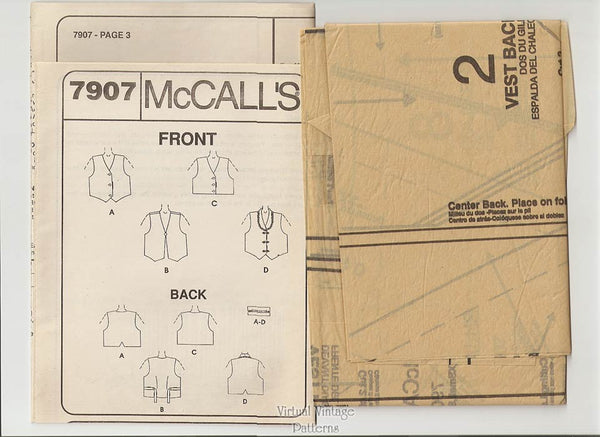 Womens Vest Pattern, McCalls 7907, Pinweave Button Front Vests, Sizes Xsm Sm Med, Uncut