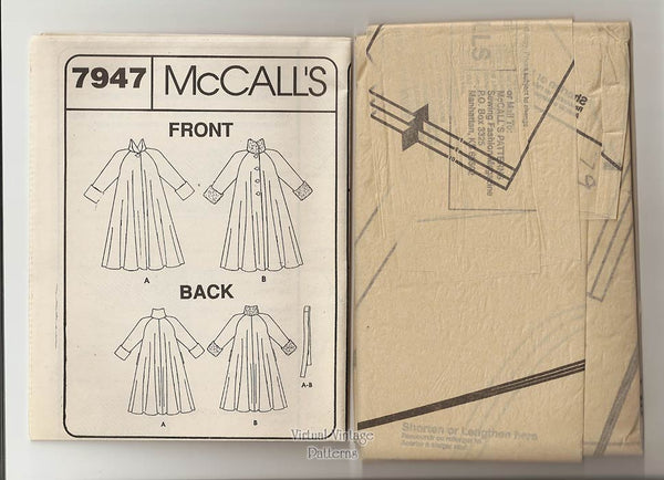 Swing Coat Pattern, McCalls 7947, Womens Duster Coat Sewing Pattern, Sizes 6 8 10, Uncut