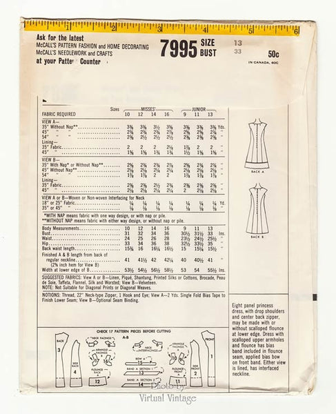 1960s Scalloped Dress Pattern, McCalls 7995, A Line Princess Seam Dress, Bust 33, Uncut