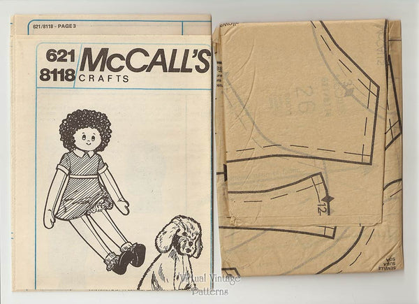 Little Orphan Annie Doll Pattern, McCalls 8118, Large Annie & Sandy Stuffed Toys, Uncut