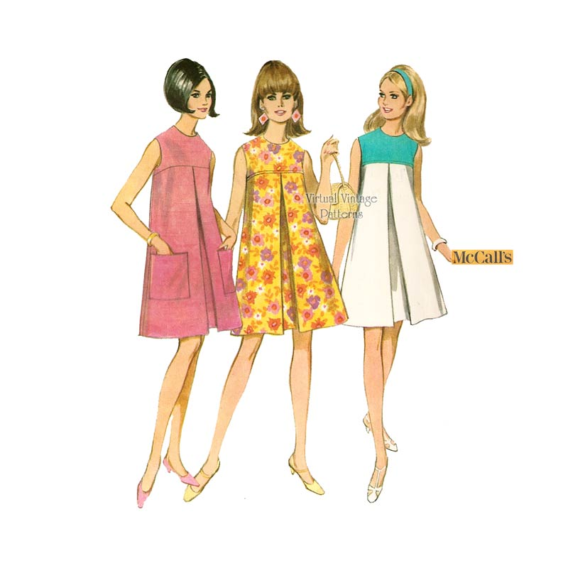 60s Sleeveless Tent Dress Pattern, McCalls 8755